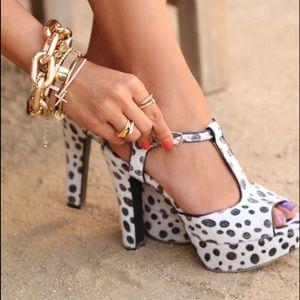 Pink & Pepper calf hair spotted heels Sz 10